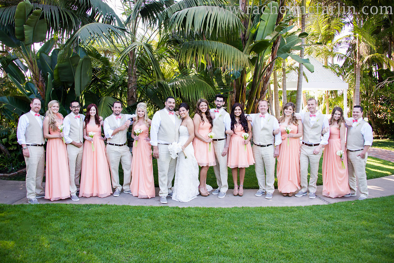 Bahia Resort San Diego Destination Beach Weddinghttp://bahiahotel.com/weddings/San Diego Wedding Photographer - www.rachelmcfarlinphotography.comWedding Party Group Shot